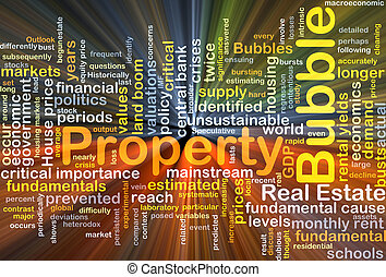 Property bubble background concept glowing
