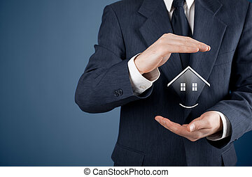 Property insurance, security and real estate agent concept. Protecting gesture of man and symbol of house.