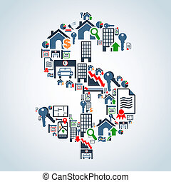 Real estate icon set in money symbol shape background illustration. Vector file layered for easy manipulation and custom coloring.