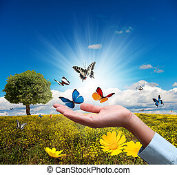 Protect environment concept with flower and butterfly