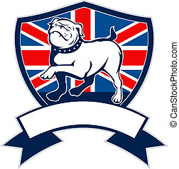 illustration of a Proud English bulldog marching with Great Britain or British flag in background set inside a shield with ribbon or scroll in foreground