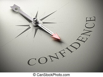 Needle of a compass pointing the word confidence, 3D render, concept image for self-confidence