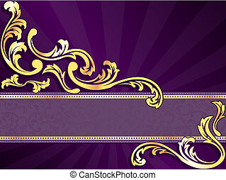 stylish vector banner with metallic swirls. Graphics are grouped and in several layers for easy editing. The file can be scaled to any size.