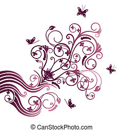 Purple flower and butterfly ornate