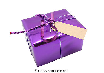 A wrapped present with blank label on it, solid colored paper, generic looking, insert your own text.