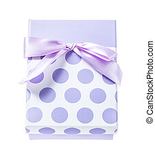 Purple present box isolated on white