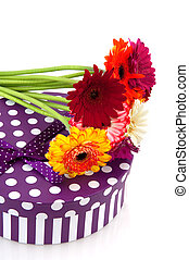 Purple present with flowers