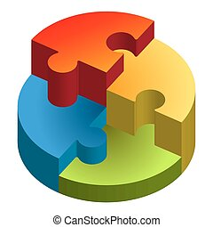 three dimensional Puzzle showing chart in four colors