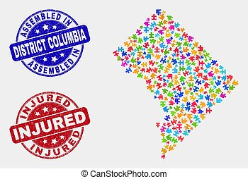 Puzzle Washington District Columbia Map and Grunge Assembled and Injured Stamp Seals