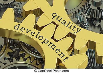 quality development concept on the gearwheels, 3D rendering