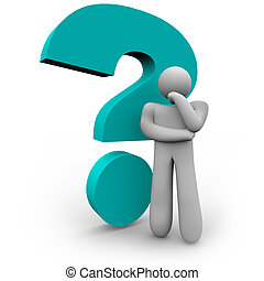 A person stands thinking beside a blue question mark