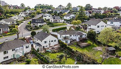 Quiet Suburban Neighbourhood Aerial View