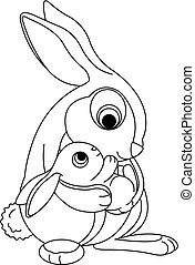 Cute rabbits. Mother holding her baby bunny. Coloring page