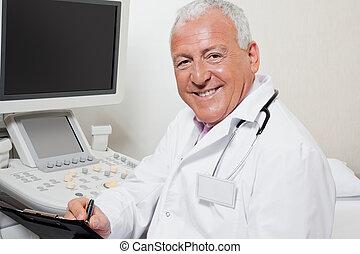 Radiologist Writing On Clipboard