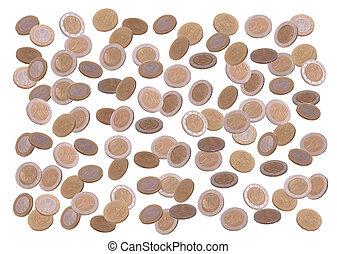 rain of european coins on white