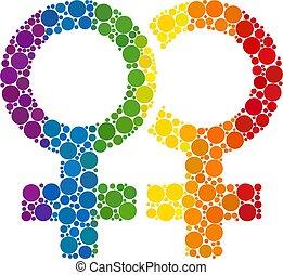 Rainbow Lesbian couple symbol Composition Icon of Spheric Dots