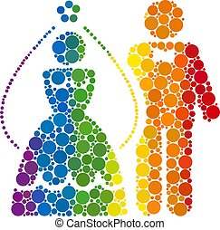 Rainbow Newlyweds Composition Icon of Spheric Dots