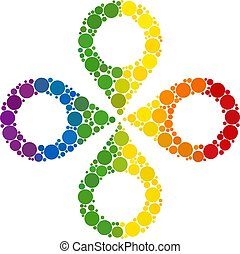Rainbow Quadrocopter Composition Icon of Spheric Dots
