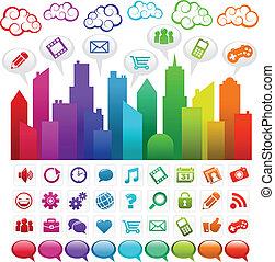 Rainbow Social Media City