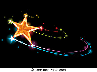 Colorful background with coming gold bright star