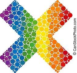 Rainbow X-cross Composition Icon of Spheric Dots