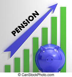 Raising Pension Chart Showing Monetary Growth Or Progress