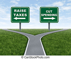 Raising taxes or cutting spending dilema for government political choice represented by the symbol and metaphor of a cross roads with grass and sky showing the difficult election policy platform for vote candidates for challenging economic issues.