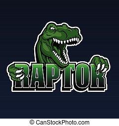raptor mascot, cartoon raptor, dinosaur illustration,