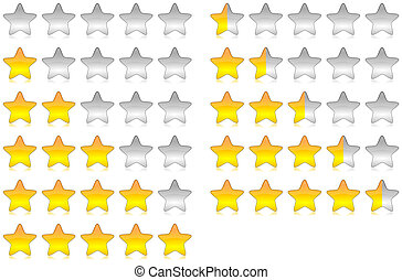 Yellow brilliant and glossy rating stars set illustration with reflection