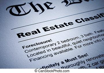 Real Estate ads on Newspaper