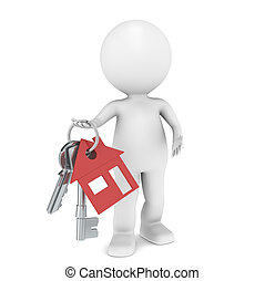 3D little human character holding a pair of House Keys. Red