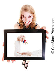 Real estate agent woman showing keys on tablet.