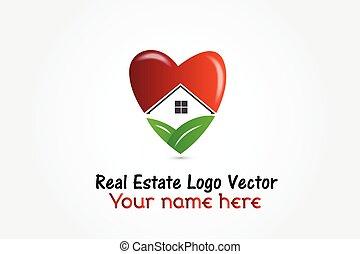 Real estate house heart shape logo vector