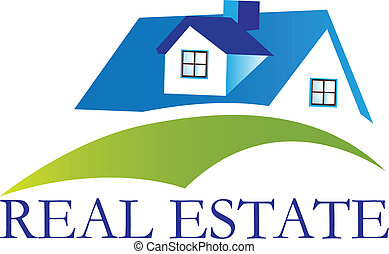 Real estate house with hills logo vector