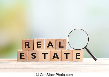 Real estate search sign on a table