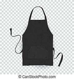 Realistic black kitchen apron. Vector illustration on transparent background