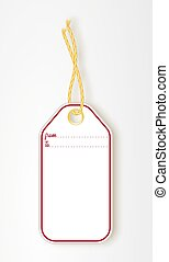 Realistic mock up illustration of some gift tags. Space is provided for your own copy paste text. Blank tag with rope isolated on white background. Template for price tag, gift tag, address label. For example text is FROM TO