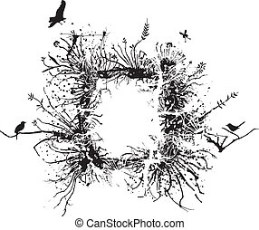 Wild frame made of branches, roots and various vegetation with some birds
