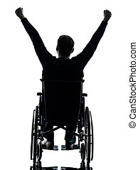 one handicapped man arms raised rear view in silhouette studio on white background