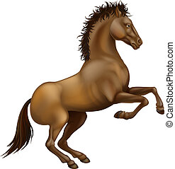 Illustration of a powerful brown horse rearing on its hind legs