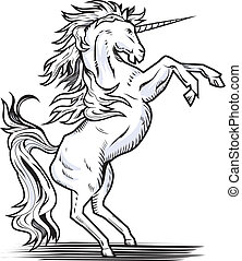 White rearing unicorn