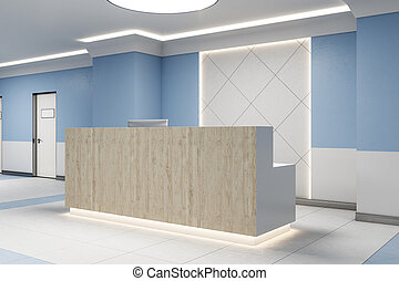 Reception desk with computer in blue interior