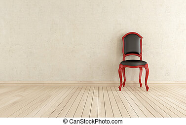 red and black classici chair against wall