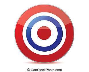 red and blue target icon with drop shadow in circular design