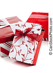 red and white wrapped Christmas presents