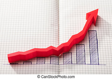 Red Arrow Over Increasing Graph On Notebook