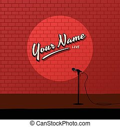red brick stand up comedy cartoon theme vector art illustration