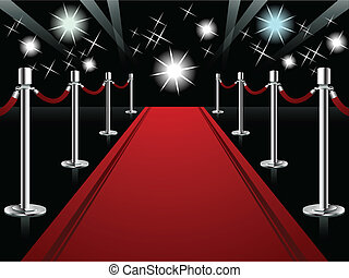 Vector illustration representing perspective red carpet with lights and lens flare at the end of it.