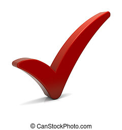 Red check mark isolated on white. Part of a series.