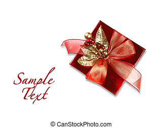 Red Christmas Holiday Gift on White Background